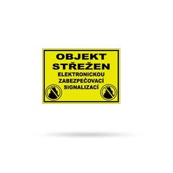 Objekt střežen - výstražná cedule A5 žlutá plastová